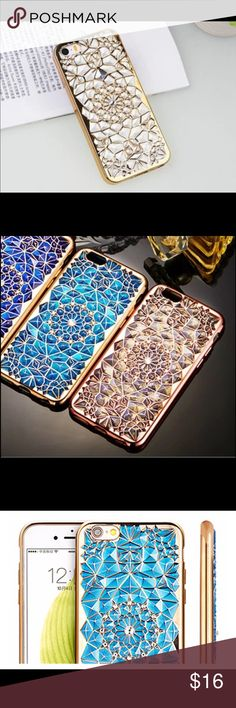 Gold and clear iPhone 7 case with rhinestones Beautiful iPhone 7 case in gold and clear and has little diamonds in the middle it's not bulky it's super thin but at the same time protects the phones borders well . It's made of silicon so it's really soft ✨ Accessories Phone Cases