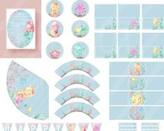 Mermaid Birthday Party Printable Decorations Pack - with invitation, cupcake toppers & wrappers, water bottle labels, party hats, birthday banner and straw/toothpick flags Tent Cards, Printable Designs, Mermaid Birthday, Happy Birthday Banners, Party Printables, Party Hats, Cupcake Toppers, Flags, Water Bottle