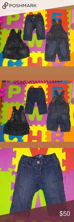 Old Navy Baby Denim Dress Overalls Pants 3-6 Mo These are used but in great condition. They've only been worn a few times. There are no holes or stains.   The pants are lined with pink 100% polyester lining. The outer material is 85% cotton and 15% polyester. These do NOT have the snaps at the crotch.   The overall jeans pants are 100% cotton. These do have snaps at the crotch. The shoulder straps are adjustable.  The overall jean dress is 85% cotton and 15% polyester. The bottoms that go…