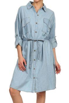 Casual Roll-Up Sleeve Button Down & Draw String Knee Length Denim Shirt Dress Blue Denim Shirt, Denim Shirt Dress, Dress Skirt, Peplum Dress, Shirt Dress Pattern, Roll Up Sleeves, Spring Summer Fashion, Casual, Skirts