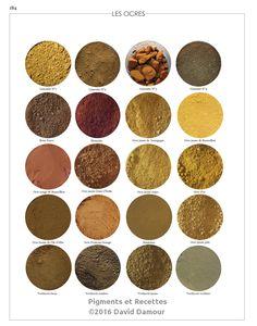 Les ocres N° 2 du livre Pigments et Recettes Les secrets du métier de l'artiste peintre du XXIe disponible sur https://pigmentsrecettes.com