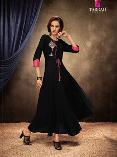 BLOSSOM BY TARRAH FASHION  201 TO 208 SERIES RAYON GOWN STYLE LONG KURTI AT WHOLESALE PRICE AT DSTYLE ICON FASHION Party Wear Kurtis, Latest Kurti, Lehenga, Style Icons, Icon Fashion, Gowns, Formal, Cod, Fabric
