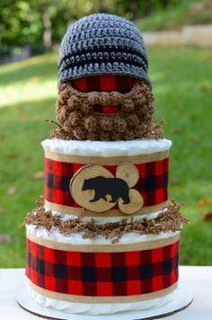 Lumberjack Baby Shower Decoration Diaper by Julies2CuteCreations