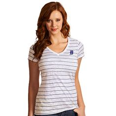 Detroit Tigers Women's Pure Striped Tee by Antigua