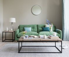 This slim-armed beauty is just the ticket for tight spaces. An uber-comfy sofa that you can sit in rather than on. I love the green, it's so fresh! Living Room Sofa, Home Living Room, Living Room Decor, Living Area, Small Living, Pallet Furniture, Furniture Makeover, Pallet Sofa, Diy Pallet