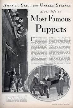Amazing Skill with Unseen Strings gives life to Most Famous Puppets - Popular Science (Jun, 1933)