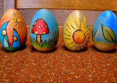 wood burned and painted wooden story eggs