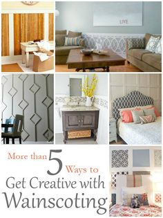 DIY Home Ideas | I love adding interest to walls with wainscoting or paneling! Here are FIVE+ fun DIY ideas to inspire you to get creative with wainscoting.