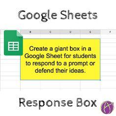 Google Sheets: Create A Student Response Box - Teacher Tech