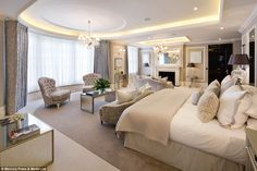 Sleep easy: Another one of the bedrooms, many of which are ensuite, is pictured. The £32million mansion has just come on the market
