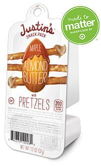 Justin's almond butter comes in gluten-free snack packs.  What could be better than almond butter and pretzels for a snack on-the-run?