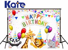 5x7ft Kate Children Backgrounds Animals Birthday Photography Backdrops Balloons Backgrounds for Photo Studio Kids Digital Photo