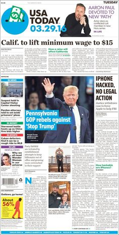 "#20160329 #USA #USAnews Tuesday MAR 29th 2016 #USATODAY #USATODAYnewspaper20160329 http://en.kiosko.net/us/2016-03-29/np/usa_today.html + https://www.facebook.com/usatoday/?fref=ts + http://www.usatoday.com/ + #5ThingsYouNeedToKnow ""5 Things You Need To Know"" TUESDAY http://www.usatoday.com/story/news/2016/03/29/5-things-you-need-know-tuesday/82340746/"