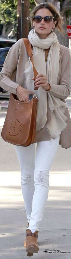 "~Alessandra Ambrosio - Hermes ""Evelyne Messenger"" Bag 