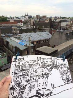 Drawing Amsterdam roofs - © Detlef Surrey