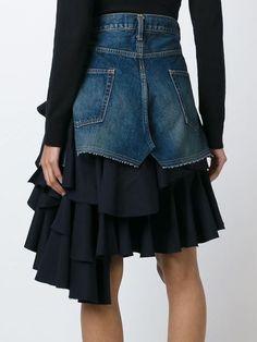 layered ruffled denim skirtt