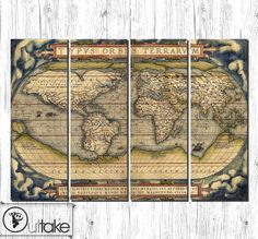 """Old world map. Large canvas art , ready to hang interior wall decor on 4 panels 55"""" x 31.5"""""""