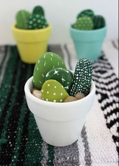 DIY Hand-Painted Mini Cactus Pots