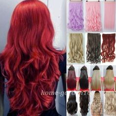 """Long Curly Wavy 24"""" 3/4 Full head Clip in on hair Extensions 100% real thick hair black Brown blonde green pink red purple blue(China (Mainland))"""