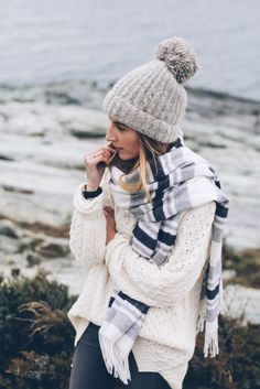 J.Crew Beanie and Madewell Scarf with chunky knit sweater on Prosecco and Plaid