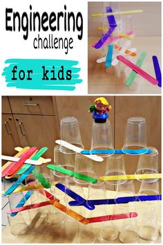 STEM challenges are very popular right now and are a great learning experience for kids. This engineering challenge uses simple materials, but requires a lot of strategy and trial and error fun for kids. Science Activities For Kids, Stem Science, Science For Kids, Science Projects, Toddler Activities, Learning Activities, Preschool Activities, Engineering Projects, Mechatronics Engineering