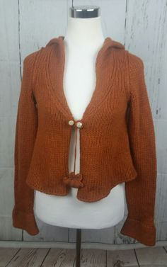 "Anthropologie Sleeping On Snow ""Bee"" Orange Wool Hooded Cardigan Sweater Size M 