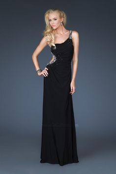 A-Line Scoop Neckline One-Shoulder Strap with Beading Floor Length Zipper Chiffon prom dress