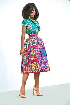 Style Pantry | Print Short Sleeve Button Up + Printed Full Midi Skirt