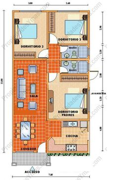 Would only have 2 bedrooms not three for studio, so would make dormitorio padres part of the living room Small House Floor Plans, Barn House Plans, Bungalow House Plans, Modern House Plans, Tiny House Layout, Small House Design, House Layouts, Cool House Designs, Drawing House Plans