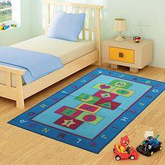 FunkyBuys® Marelle Tapis design moderne tapis de jeu pour enfants Bleu Chambre tapis antidérapant–3tailles Meilleur Prix, bleu, 100cm x…