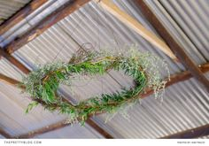 Lovely natural wreaths for a rustic wedding | Real weddings | Photograph by Kim Tracey Photography