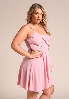 Plus Size Clothing | Plus Size Ruffle Surplice Flared Dress | Debshops