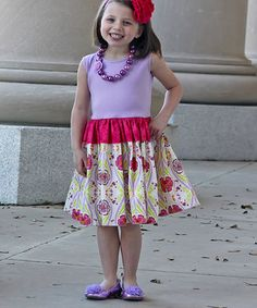 Another great find on #zulily! Lavender & Fuchsia Floral Dress - Infant, Toddler & Girls by Sweet Petunia #zulilyfinds