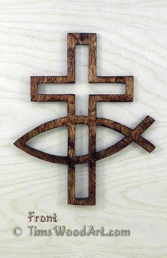 Wood Projects Fishers of Men Christian Cross, for Wall Hanging or Ornament, Item Wooden Crosses, Wall Crosses, Christian Crafts, Christian Art, Christian Crosses, Popular Woodworking, Woodworking Crafts, Woodworking Patterns, Woodworking Plans