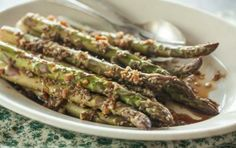 Roasted Asparagus with Sesame, Chile and Garlic // You will LOVE this! #spring #recipe