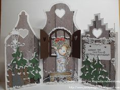 Holiday Wreath Tilda, Christmas Lace Bench and sentiment from Wishing You Oak Leaf kit 3d Cards, Pop Up Cards, Xmas Cards, Winter Christmas, Christmas Crafts, Magnolia Blog, Rena, Shaped Cards, Marianne Design