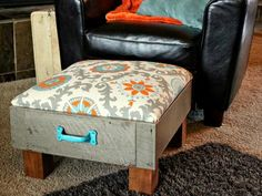 This cute ottoman was made from an old drawer and looks totally comfortable as well as adorable. Learn to make your own version here.