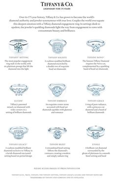 engagement ring tiffany Everybody girl dreams of one day receiving a little blue box from Tiffany amp; Here is a guide to their post popular engagement rings, letting you choose what fits best for you. Popular Engagement Rings, Dream Engagement Rings, Engagement Ring Styles, Engagement Ring Settings, Engagement Ring Guide, Tiffany Engagement Rings, Designer Engagement Rings, Solitaire Engagement, Tiffany Rings
