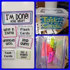 This site has a lot of amazing print outs for classroom procedure wall decorations. This picture is one I liked best. I like the idea of having tasks with Velcro on the back  that you can put up every day for tasks students can do when they are done with their work to cut down on distractions for the students who are still working. ZM