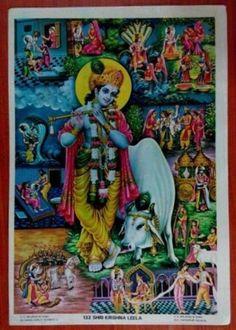 India Vintage Religious Print / Shree Krishna Leela #498 picclick.com