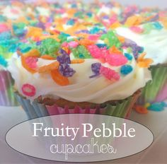 Fruity Pebble Cupcakes #rainbow #cupcake #recipe #birthday #food #dessert #easter #jello