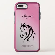 Pink Horse Personalized OtterBox Symmetry iPhone 8 Plus/7 Plus Case - girly gifts special unique gift idea custom