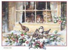 Fåglar och kattungar.