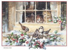 Christmas Kittens and Chickadees #vintage #christmas #vintagechristmas