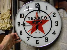"""SUPER NICE """"TEXACO"""" LIGHTED CLOCK!! Texaco, Old Gas Stations, Famous Stars, Gas Pumps, Metal Signs, Signage, Vintage Clocks, Antiques, Man Cave"""