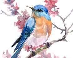 birds painting Giclee Print: Bluebird 9 by Suren Nersisyan : Watercolor Bird, Watercolor Animals, Watercolor Paintings, Watercolor Portraits, Watercolor Landscape, Bird Paintings, Bird Artwork, Watercolor Tattoos, Watercolor Artists