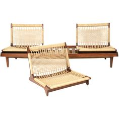 Hans Olsen, Modular Seating Group, 1950's.  Solid teak and hemp modular seating group by Hans Olsen circa late 1950's.