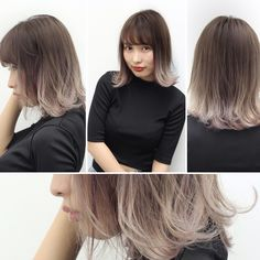 切りっぱなしホワイトグレージュボブ Dark Ombre Hair, Ombre Hair Color, Medium Hair Styles, Short Hair Styles, Hair Color 2017, Gradient Hair, Hair Arrange, Haircut And Color, Light Brown Hair