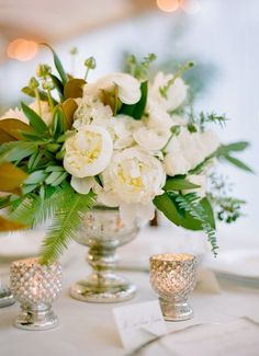 White Peony and Lush Garden Greenery Low and Lush Centerpiece // mecrury glass vase, candles, centerpiece, summer, garden
