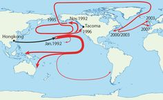Map of Where 29,000 Rubber Duckies Made Landfall After Falling off a Cargo Ship in the Middle of the Pacific Ocean
